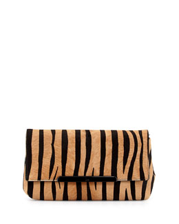 Christian Louboutin Rougissime Tiger-Print Calf Hair Clutch Bag