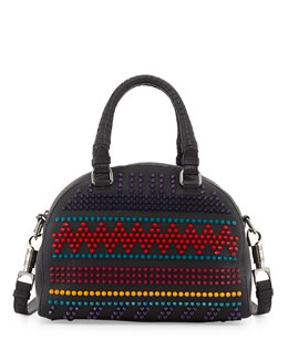 Christian Louboutin Panettone Small Spiked Chevron Satchel Bag, Black Multi
