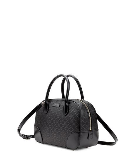 Bright Diamante Small Leather Bag, Black