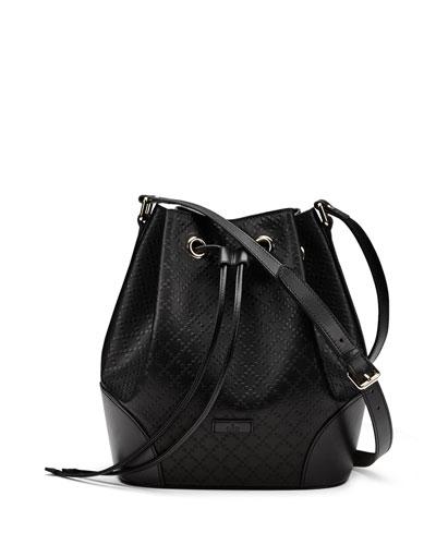 Gucci Bright Diamante Medium Leather Bucket Bag, Black
