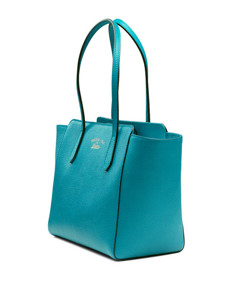 Swing Small Leather Tote Bag Turquoise
