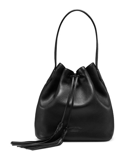 Lady Tassel Medium Bucket Bag, Black