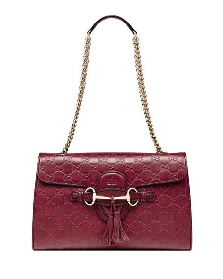5cc26b8f1c17e6 Gucci Emily Guccissima Leather Chain Shoulder Bag, Dark Red