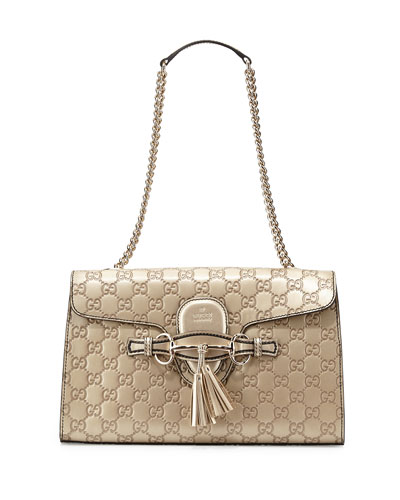 Emily Guccissima Leather Chain Shoulder Bag, Golden