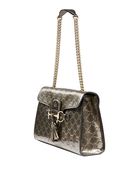 Emily Guccissima Leather Chain Shoulder Bag, Gray