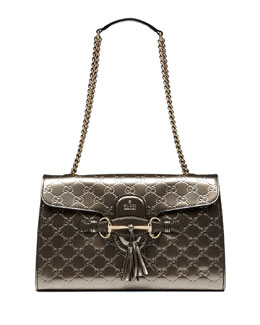 Gucci Emily Guccissima Leather Chain Shoulder Bag, Gray