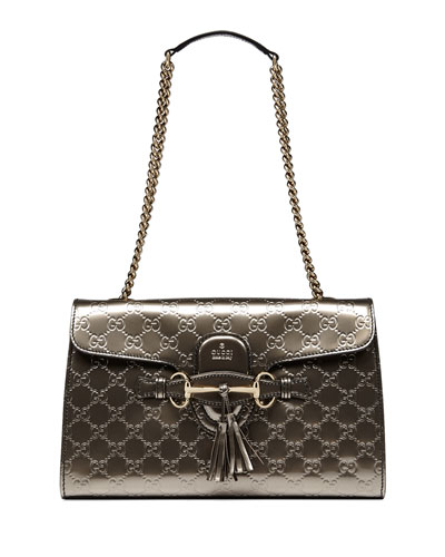 Emily Metallic Guccissima Leather Chain Shoulder Bag 91