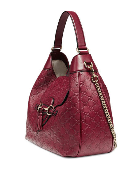 Emily Guccissima Leather Hobo Bag, Dark Red