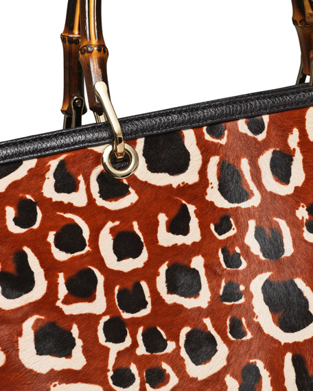 Leopard-Print Calf Hair Bamboo Medium Shopper Tote Bag