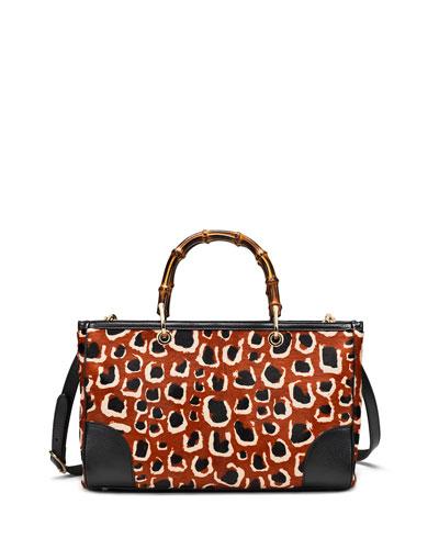 d8134f999fbe Gucci Leopard-Print Calf Hair Bamboo Medium Shopper Tote Bag