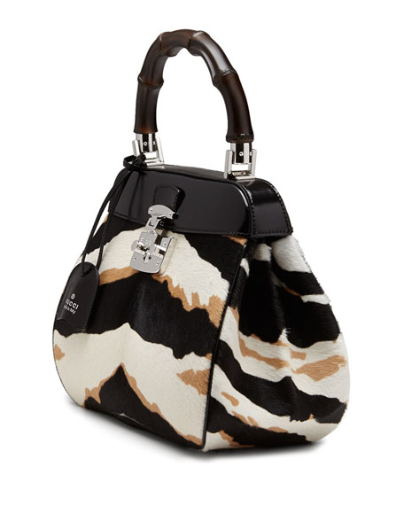 Lady Lock Medium Tiger-Print Calf Hair Bag, Black/White