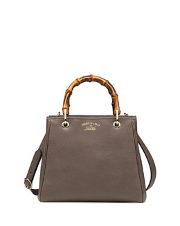 Gucci Bamboo Small Shopper Tote Bag, Gray
