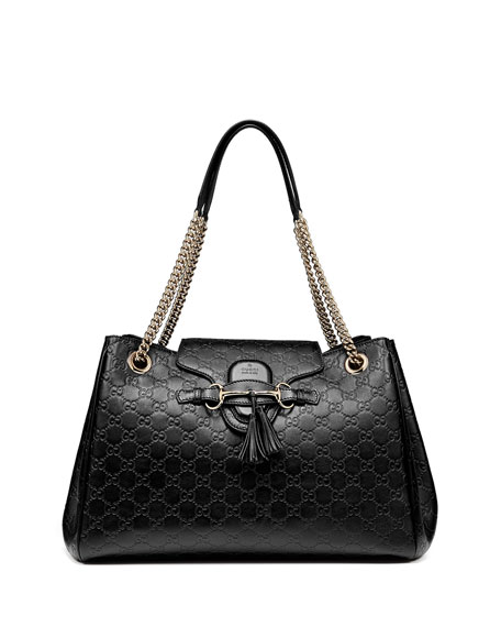 Emily Medium Guccissima Shoulder Bag, Black