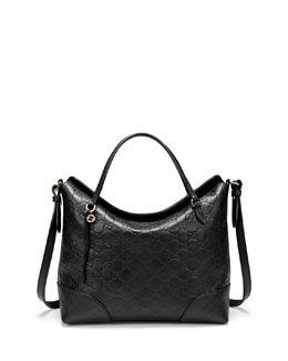 Gucci Bree Guccissima Leather Top Handle Bag, Black