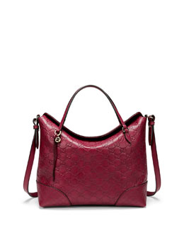 Gucci Bree Guccissima Leather Top Handle Bag, Dark Red