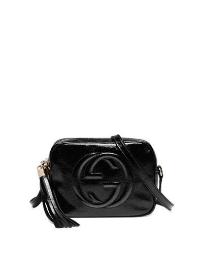 Soho Patent Leather Disco Bag, Black