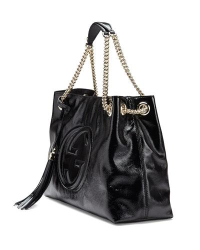 Black Patent Leather Shoulder Bag 4