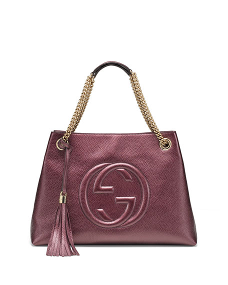Gucci Soho Metallic Leather Shoulder Bag, Burgundy
