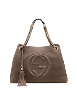 Gucci Soho Nubuck Leather Shoulder Bag, Gray