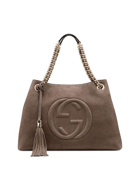 Soho Nubuck Leather Shoulder Bag, Gray