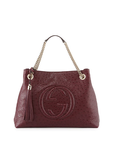 Soho Ostrich Shoulder Bag, Burgundy