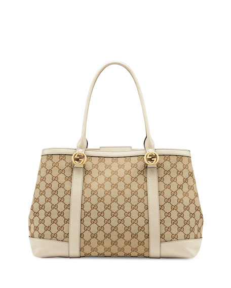 Miss Gg Large Canvas Tote Bag Beige