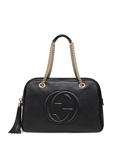 Soho Leather Chain Shoulder Bag, Black