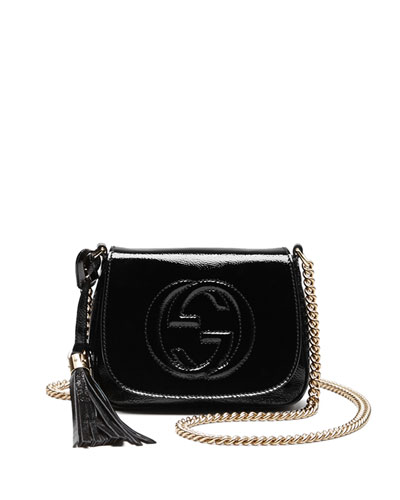 Soho Patent Leather Chain Shoulder Bag, Black