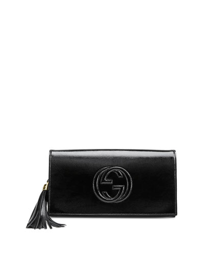 Soho Patent Leather Clutch Bag, Black