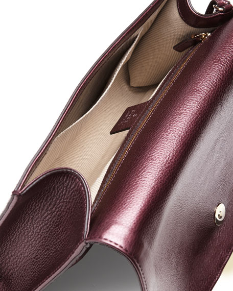 Soho Metallic Leather Clutch Bag, Burgundy