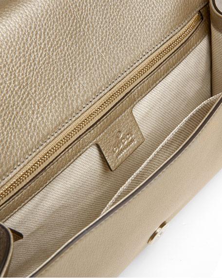 Soho Metallic Leather Clutch Bag, Gold