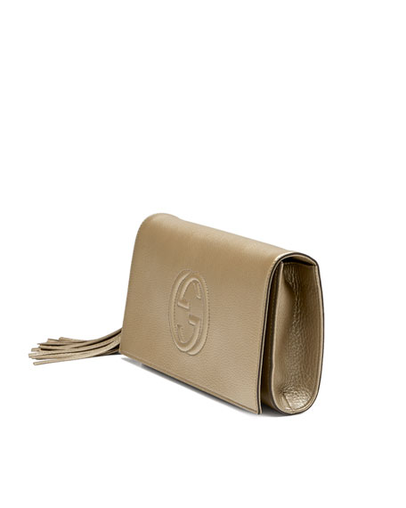 Gucci Soho Metallic Leather Clutch Bag, Gold