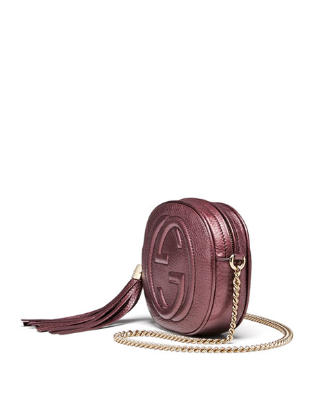 f6741f85ce4b Gucci Soho Metallic Leather Mini Chain Bag, Burgundy