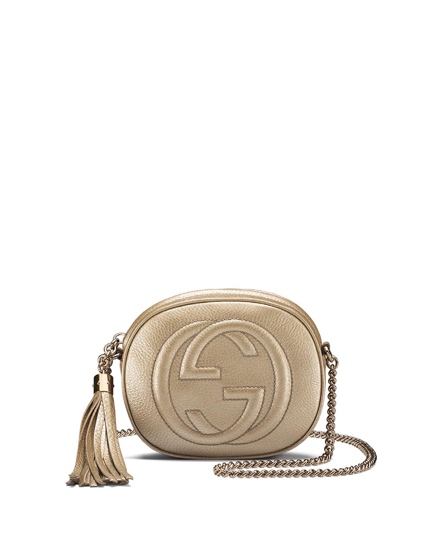 d4c533bcc2a2 Gucci Soho Metallic Leather Mini Chain Bag, Golden | Neiman Marcus