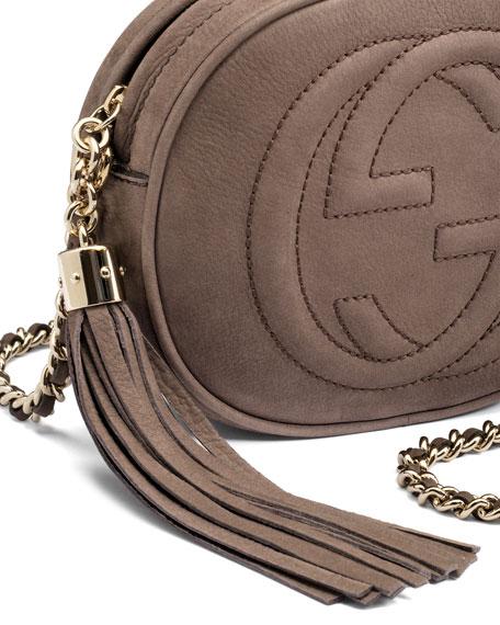Gucci Soho Nubuck Leather Mini Chain Bag, Gray