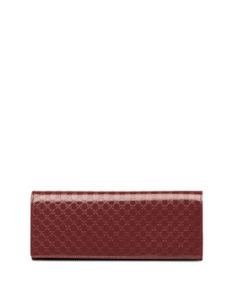 Gucci Broadway Microguccissima Patent Leather Evening Clutch, Burgundy