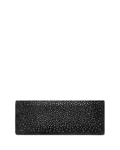 Broadway Suede Crystal Clutch Bag, Black