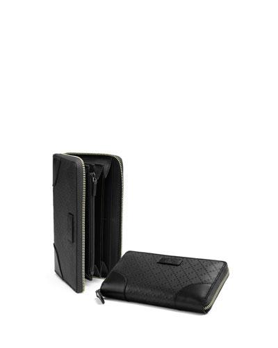 Bright Diamante Leather Zip Around Wallet, Black