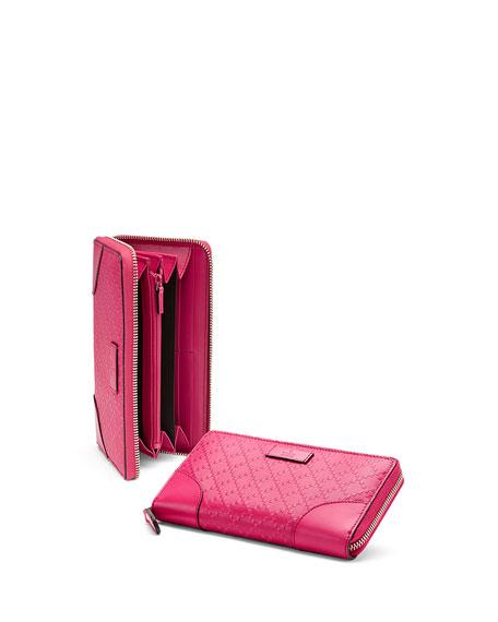 Bright Diamante Leather Zip Around Wallet, Fuchsia