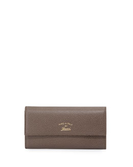 Gucci Swing Leather Continental Wallet, Gray/Pink