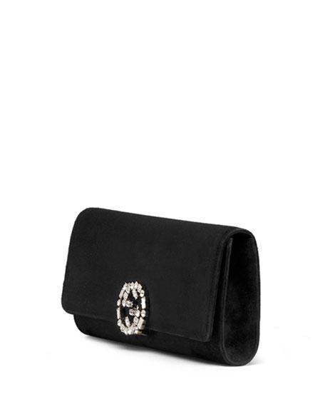 Broadway Suede GG Buckle Clutch Bag, Black