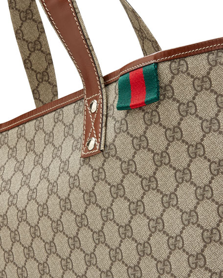 GG Plus Signature Web Tote Bag, Gray/Tan