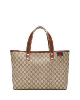 Gucci GG Plus Signature Web Tote Bag, Gray/Tan