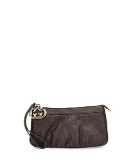 Gucci Sukey Guccissima Leather Charm Wristlet, Dark Brown