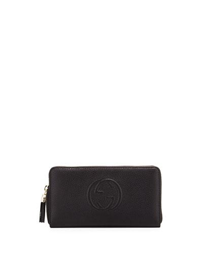 Soho Leather Travel Zip Around Wallet, Black