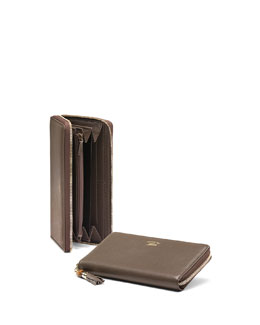 Bamboo Tassel Leather Zip Around Wallet, Gray Field