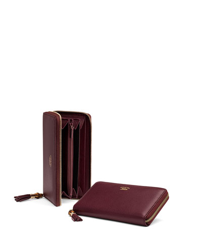 Bamboo Tassel Leather Zip Around Wallet, Burgundy