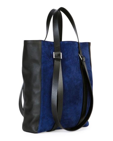 Tokyo Suede Mini Shopper Tote Bag, Blue/Black