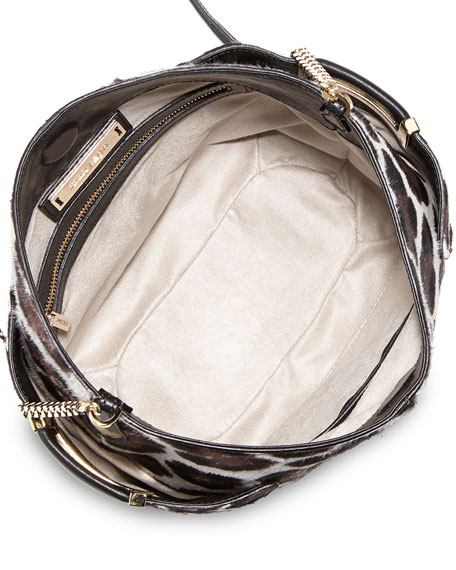 Anabel Leopard-Print Calf Hair Crossbody Bag, Gray