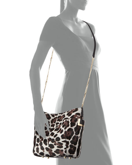 Anabel Leopard-Print Calf Hair Crossbody Bag, Gray